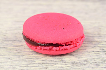 Close-up of flavoured macaron
