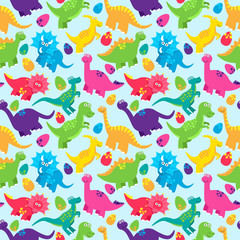 Dinosaur Seamless Tileable Vector Background Pattern