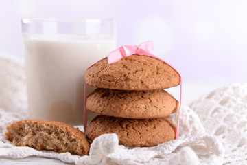 Tasty cookies and glass of milk