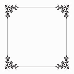 Vector Black Twirl Frame on White Background