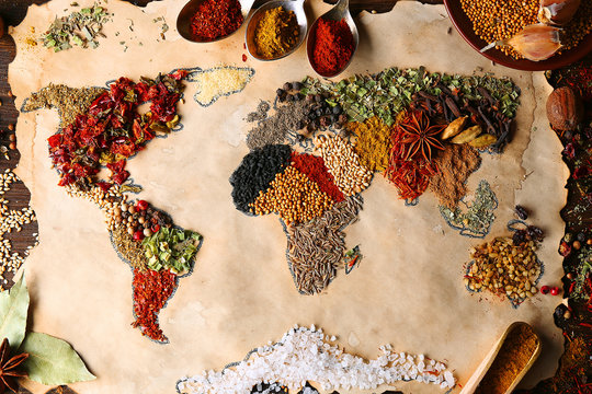 Map of world made from different kinds of spices, close-up