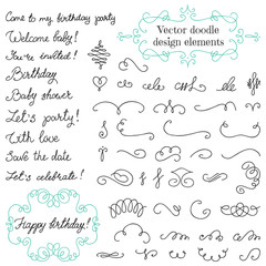 Vector doodle vintage design elements set
