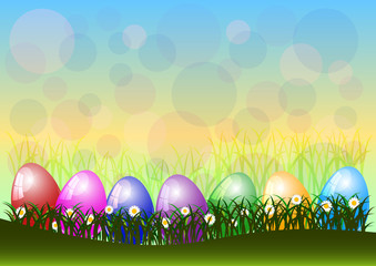 Greeting card for Easter with eggs and spring flowers on lawn