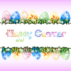Greeting card for Easter with eggs and spring flowers