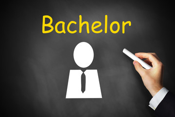 hand writing bachelor on black chalkboard