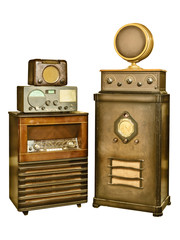 Collection of old radio's isolated on white