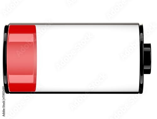 Red Battery status 20 percent