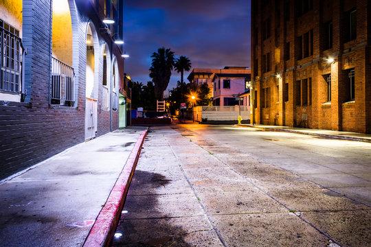 A dark street at night, in Venice Beach, Los Angeles, California