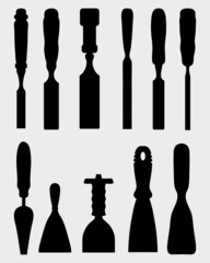 Black silhouettes of different chisels, vector