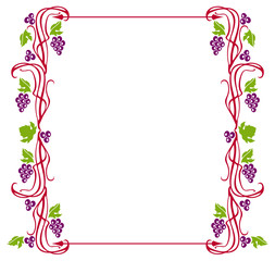 Vector frame with grapes isolated