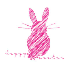 happy easter, easter bunny, scribble
