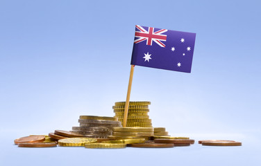 Flag of Australia in a stack of coins.(series)