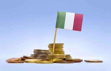 Flag of Italy in a stack of coins.(series)