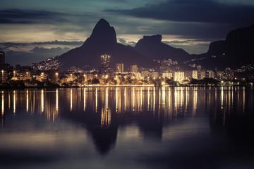 Sunset behind mountains in Rio de Janeiro, Brazil