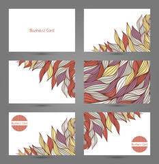 Business cards template. Design with abstract waves