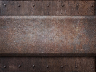 rusty tank armor metal texture with rivets as steam punk