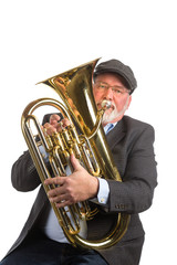 A man wearing a hat and blazer playing an Euphonium, Tenor Tuba, isolated on a white background