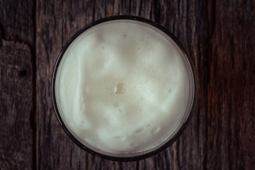 Top View of Foam on a Pint of Beer