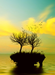 Wall Murals Yellow Beautiful landscape with birds