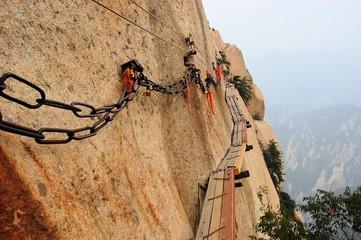 Dangerous walkway at top of holy Mount Hua Shan, China