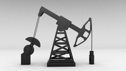 silhouette of working oil pump on white background