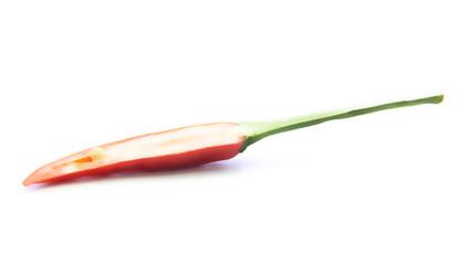 Blurring cross sliced of chili pepper