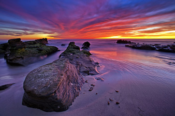 Colorful Sunset over the Sea, Windansea Beach, La Jolla, CA