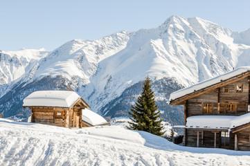 Riederalp, Dorf, Bergdorf, Walliser Dorf, Walliser Berge, Alpen, Schweizer Alpen, Wallis, Berghaus, Winterferien, Wanderweg, Winter, Schweiz