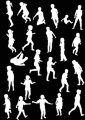 twenty three child silhouettes collection on black