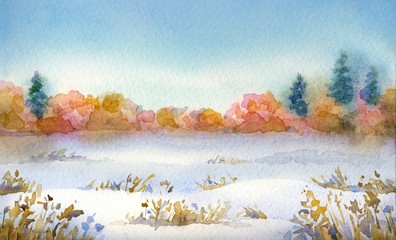 "Watercolor landscape of series of ""Steppe in different seasons."""