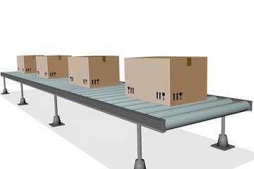 Conveyor belt with package