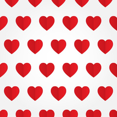 Vector seamless pattern with red heart in flat style