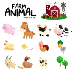 farm animal vector set - no background
