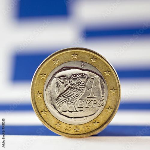 Griechische 1 Euro Münze Mit Griechischer Flagge Stockfotos Und