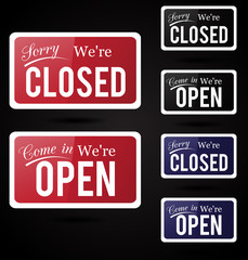 Retro open - close vector signs.