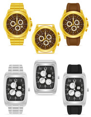 gold and silver mechanical wristwatch vector illustration