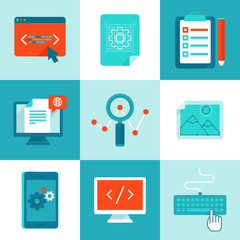 Vector web development and programming icons in flat style