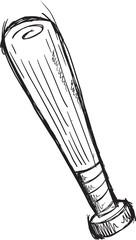 Doodle Sketch Baseball Bat Vector Illustration Art