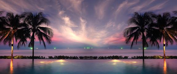 sunset sea beach palms pool
