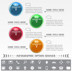 Infographic vector option banner with various icons and labels