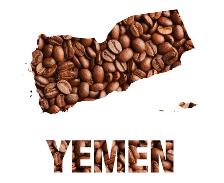 Yemen map and word coffee beans isolated on white