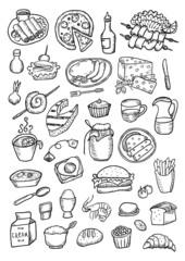 Food hand drawn set