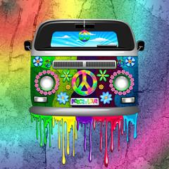 Printed kitchen splashbacks Draw Hippie Van Dripping Rainbow Paint