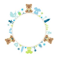Baby Frame Teddy Symbols Boy Blue