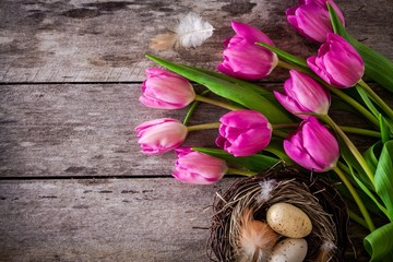 bouquet of purple tulips with a nest with eggs