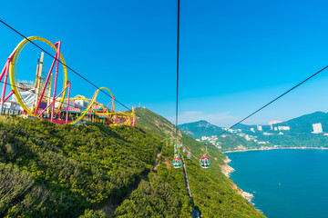 Hong Kong Ocean Park Roller Coaster. Ocean Park is situated in Wong Chuk Hang and Nam Long Shan in the Southern District of Hong Kong, China. Wall mural