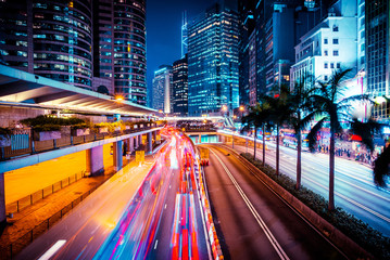 Night traffic in Hong Kong at sunset time