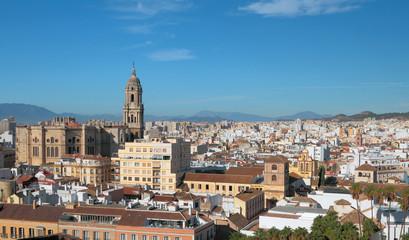 Panorama of city Malaga, Spain