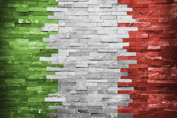 Italian Flag in the wall building