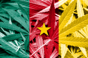 Cameroon Flag on cannabis background.